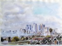 "035  SKYLINE – LOS ANGELES WATERCOLOR ON PAPER 18"" X 24"" $3500"