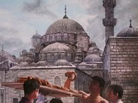"037  BREAD VENDOR – ISTANBUL, TURKEY ACRYLIC ON CANVAS 40"" X 30"" $8000"