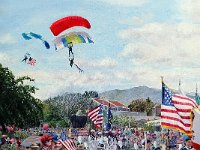 "040  FOURTH OF JULY – PACIFIC PALISADES ACRYLIC ON CANVAS 40"" X 30"" IN A PRIVATE COLLECTION – LOS ANGELES, CALIFORNIA"