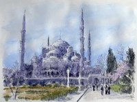"050  HAGHIA SOFIA, ISTANBUL, TURKEY COLOR SKETCH ON PAPER 18"" X 23"" $3500"