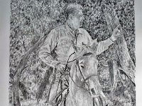 "055  PRESIDENT RONALD REAGAN ON HORSEBACK PENICIL ON PAPER 24"" X 18"" IN THE PERMANENT COLLECTION OF THE REAGAN LIBRARY"