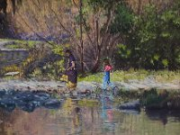 "077  TWO GIRLS WADING IN THE RIVER JORDAN, ISRAEL ACRYLIC ON CANVAS 18"" X 24"" $6500"