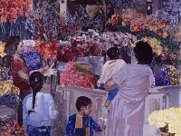 "096  LOS ANGELES FLOWER MARKET ACRYLIC ON CANVAS 72"" X 64"" $10,000"