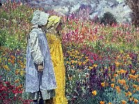 "097  TWO GIRLS IN A FIELD OF FLOWERS (FROM THE EXHIBITION ""WHAT COLOR IS THE WIND"" IN MEMPHIS) ACRYLIC ON CANVAS 67"" X 66"" IN A PRIVATE COLLECTION – HOUSTON, TEXAS"