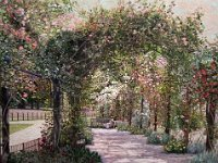 "101  HYDE PARK ROSE ARBOR  ACRYLIC ON CANVAS 16"" X 20"" $6500"