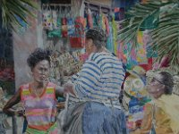 "117  BASKET BAZAAR IN THE BAHAMAS ACRYLIC ON CANVAS 24"" X 36"" $7500"
